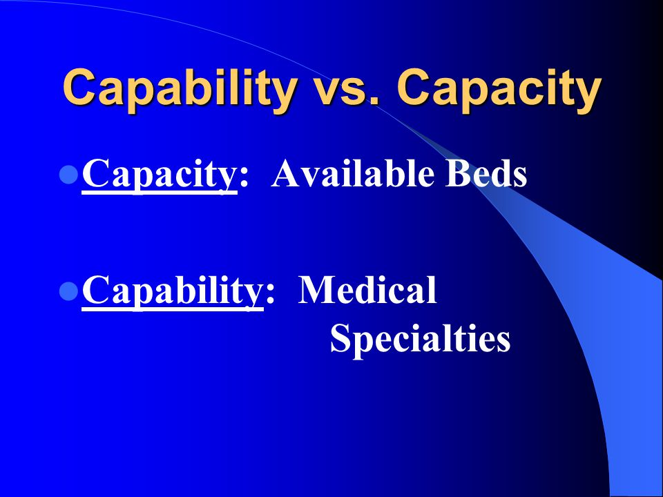 Capability vs. Capacity Capacity: Available Beds Capability: Medical Specialties