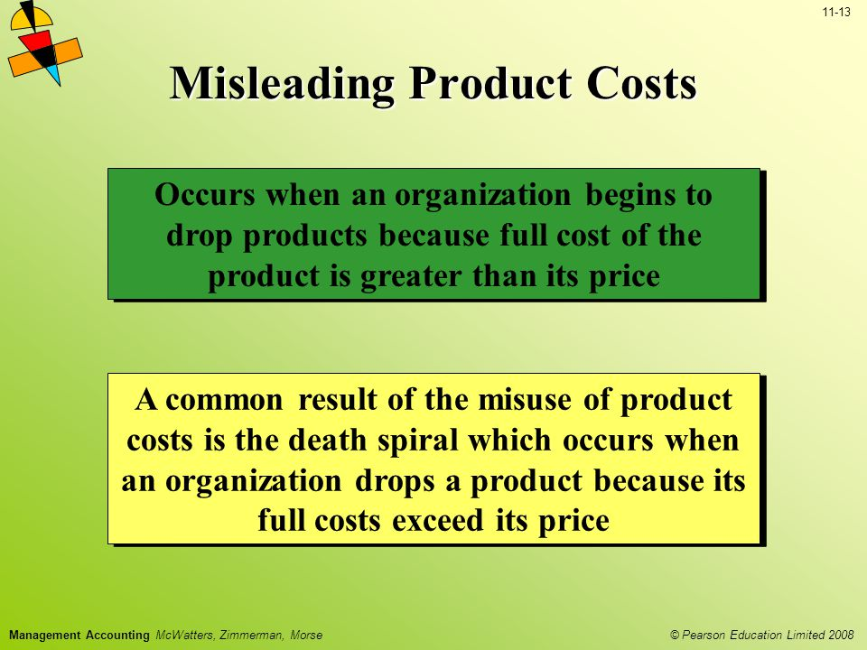 © Pearson Education Limited 2008 11-13 Management Accounting McWatters, Zimmerman, Morse Occurs when an organization begins to drop products because full cost of the product is greater than its price Misleading Product Costs A common result of the misuse of product costs is the death spiral which occurs when an organization drops a product because its full costs exceed its price