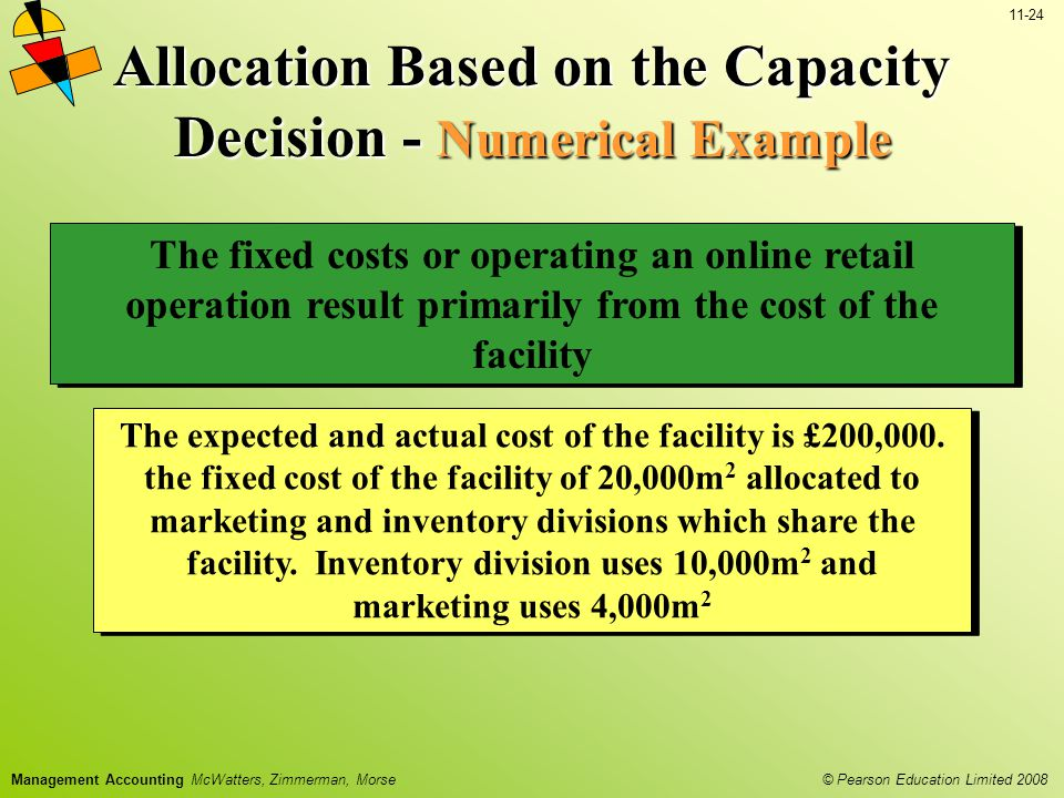 © Pearson Education Limited 2008 11-24 Management Accounting McWatters, Zimmerman, Morse The fixed costs or operating an online retail operation result primarily from the cost of the facility The expected and actual cost of the facility is £200,000.