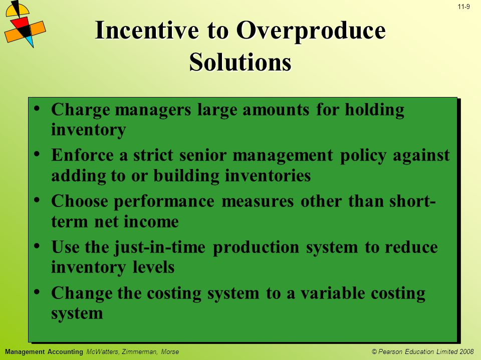 © Pearson Education Limited 2008 11-9 Management Accounting McWatters, Zimmerman, Morse Charge managers large amounts for holding inventory Enforce a strict senior management policy against adding to or building inventories Choose performance measures other than short- term net income Use the just-in-time production system to reduce inventory levels Change the costing system to a variable costing system Charge managers large amounts for holding inventory Enforce a strict senior management policy against adding to or building inventories Choose performance measures other than short- term net income Use the just-in-time production system to reduce inventory levels Change the costing system to a variable costing system Incentive to Overproduce Solutions