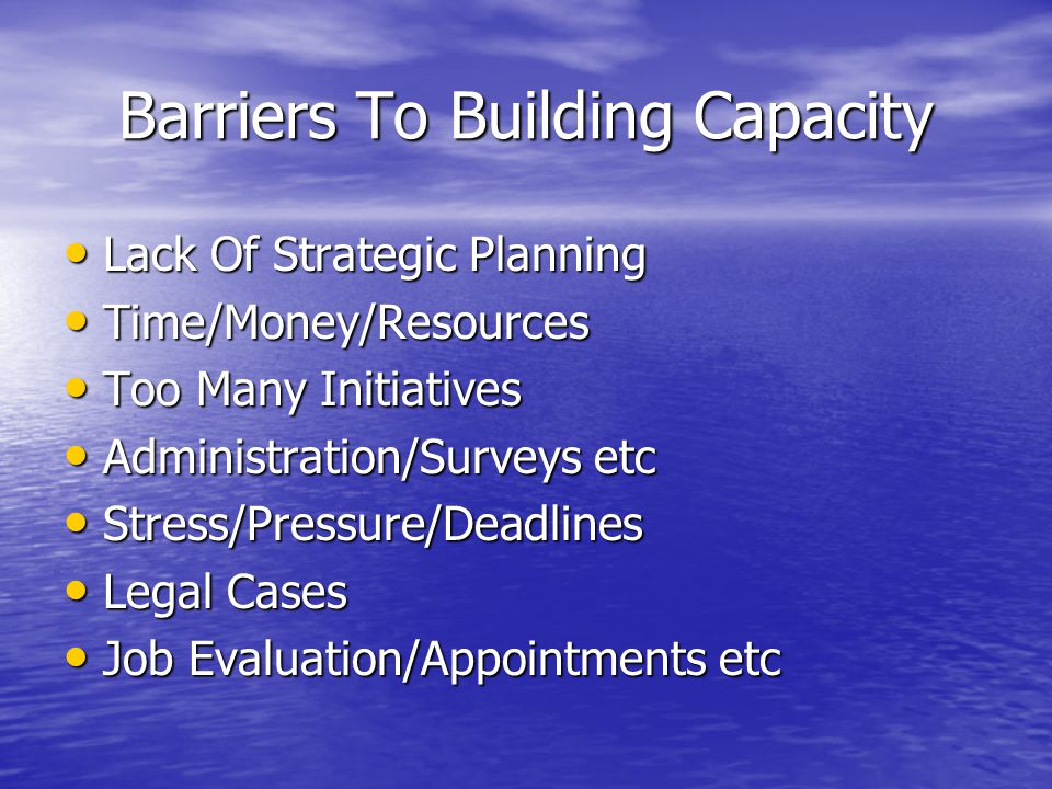 Barriers To Building Capacity Lack Of Strategic Planning Lack Of Strategic Planning Time/Money/Resources Time/Money/Resources Too Many Initiatives Too