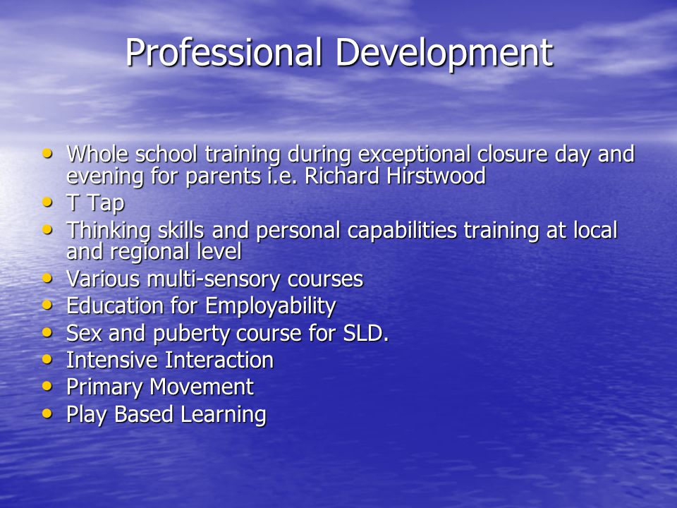 Professional Development ASD 16-19 Curriculum ASD 16-19 Curriculum C2K SEN Support creating resources for numeracy C2K SEN Support creating resources for numeracy Camera Mouse Camera Mouse Video Conferencing Video Conferencing Helping Hands (Womans Aid) Helping Hands (Womans Aid) Movement Opportunities Via Education (additional funding from extended schools) Movement Opportunities Via Education (additional funding from extended schools) Induction/ EPD/ Teacher Tutor Induction/ EPD/ Teacher Tutor PRSD PRSD Independent Travel Independent Travel