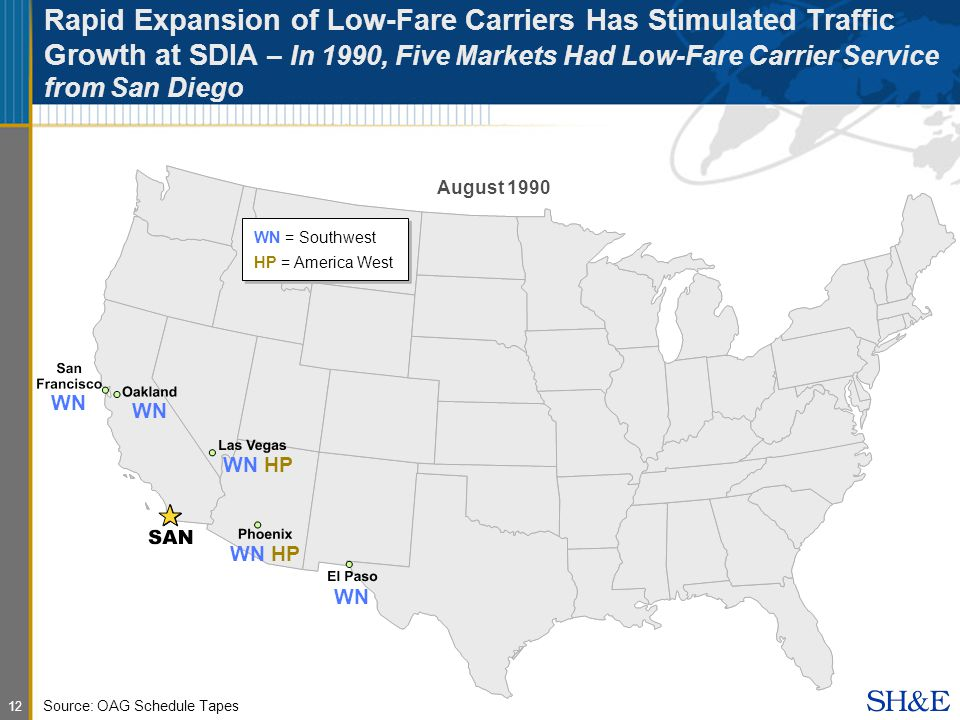 12 Rapid Expansion of Low-Fare Carriers Has Stimulated Traffic Growth at SDIA – In 1990, Five Markets Had Low-Fare Carrier Service from San Diego August 1990 WN = Southwest HP = America West Source: OAG Schedule Tapes WN WN HP WN