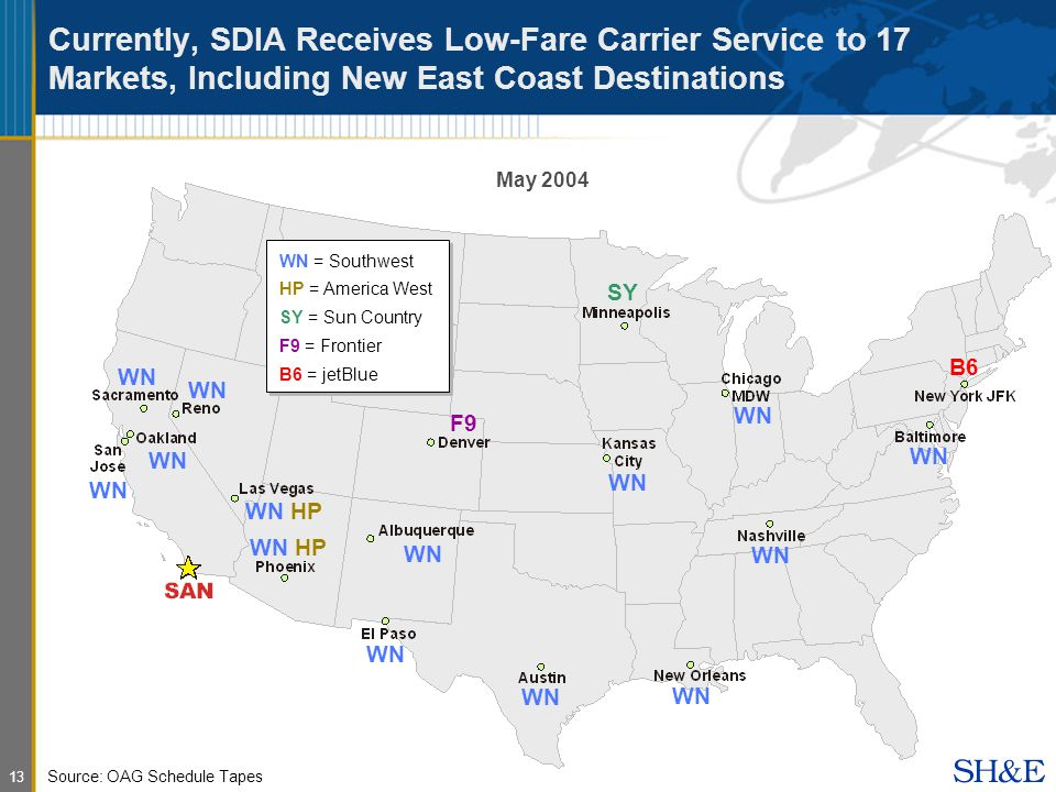 13 May 2004 Source: OAG Schedule Tapes Currently, SDIA Receives Low-Fare Carrier Service to 17 Markets, Including New East Coast Destinations WN SY WN HP WN F9 WN B6 WN = Southwest HP = America West SY = Sun Country F9 = Frontier B6 = jetBlue WN