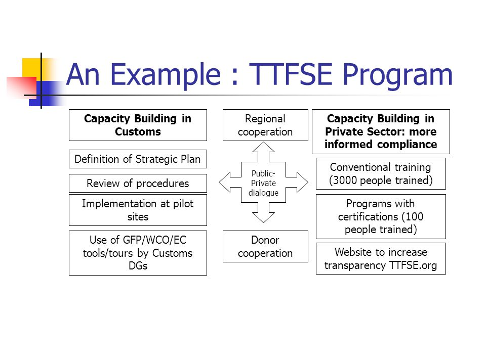 An Example : TTFSE Program Definition of Strategic Plan Review of procedures Implementation at pilot sites Use of GFP/WCO/EC tools/tours by Customs DGs Capacity Building in Customs Capacity Building in Private Sector: more informed compliance Conventional training (3000 people trained) Programs with certifications (100 people trained) Website to increase transparency TTFSE.org Public- Private dialogue Regional cooperation Donor cooperation