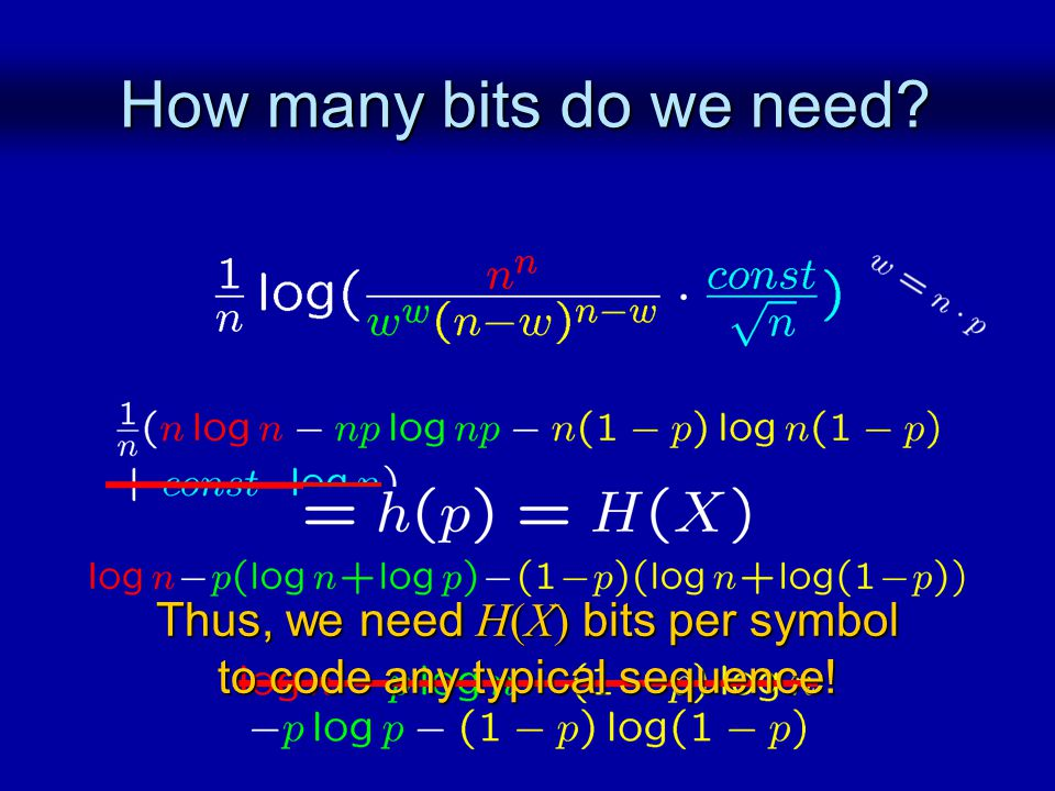 How many bits do we need Thus, we need H(X) bits per symbol to code any typical sequence!