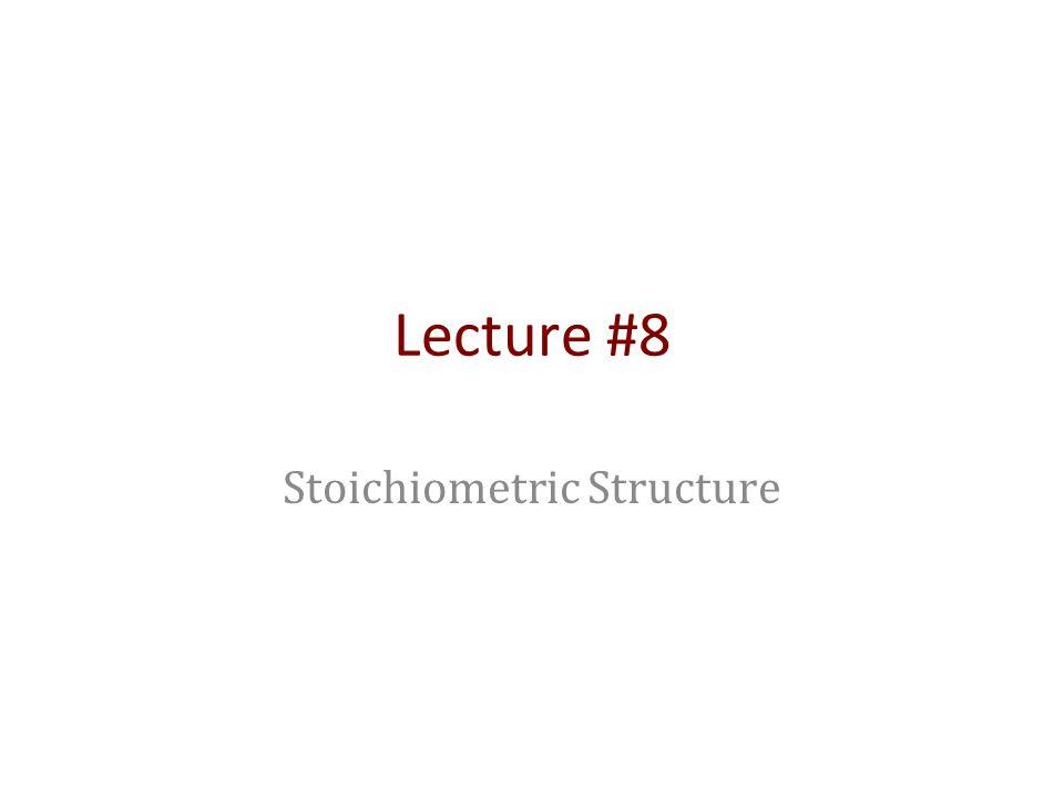Lecture #8 Stoichiometric Structure