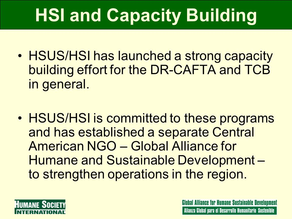 HSI and Capacity Building HSUS/HSI has launched a strong capacity building effort for the DR-CAFTA and TCB in general.