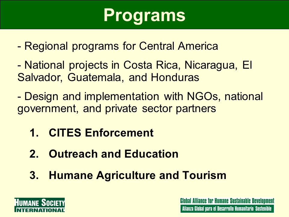 Programs 1.CITES Enforcement 2.Outreach and Education 3.Humane Agriculture and Tourism - Regional programs for Central America - National projects in Costa Rica, Nicaragua, El Salvador, Guatemala, and Honduras - Design and implementation with NGOs, national government, and private sector partners