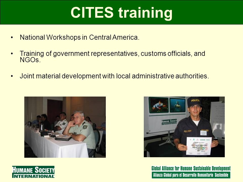 CITES training National Workshops in Central America.