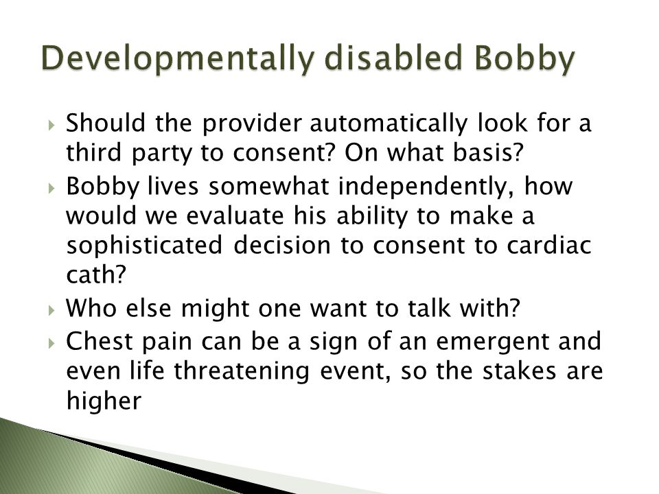 Should the provider automatically look for a third party to consent.