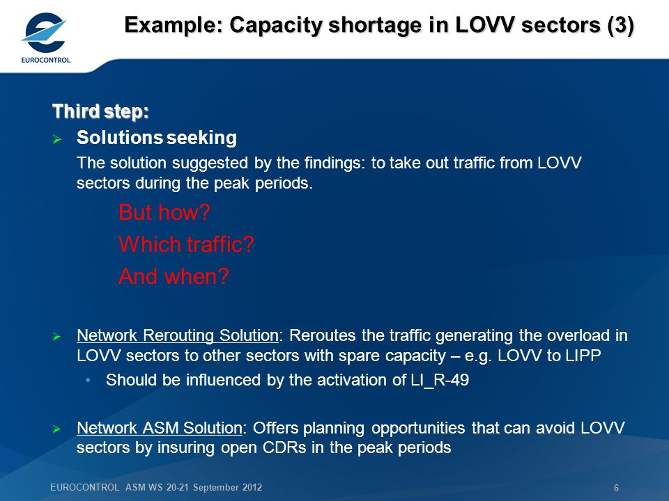 EUROCONTROL ASM WS 20-21 September 2012 6 Example: Capacity shortage in LOVV sectors (3) Third step: Solutions seeking The solution suggested by the findings: to take out traffic from LOVV sectors during the peak periods.