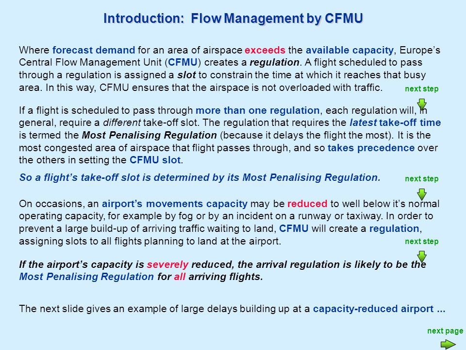 next step Introduction: Flow Management by CFMU Where forecast demand for an area of airspace exceeds the available capacity, Europes Central Flow Management Unit (CFMU) creates a regulation.
