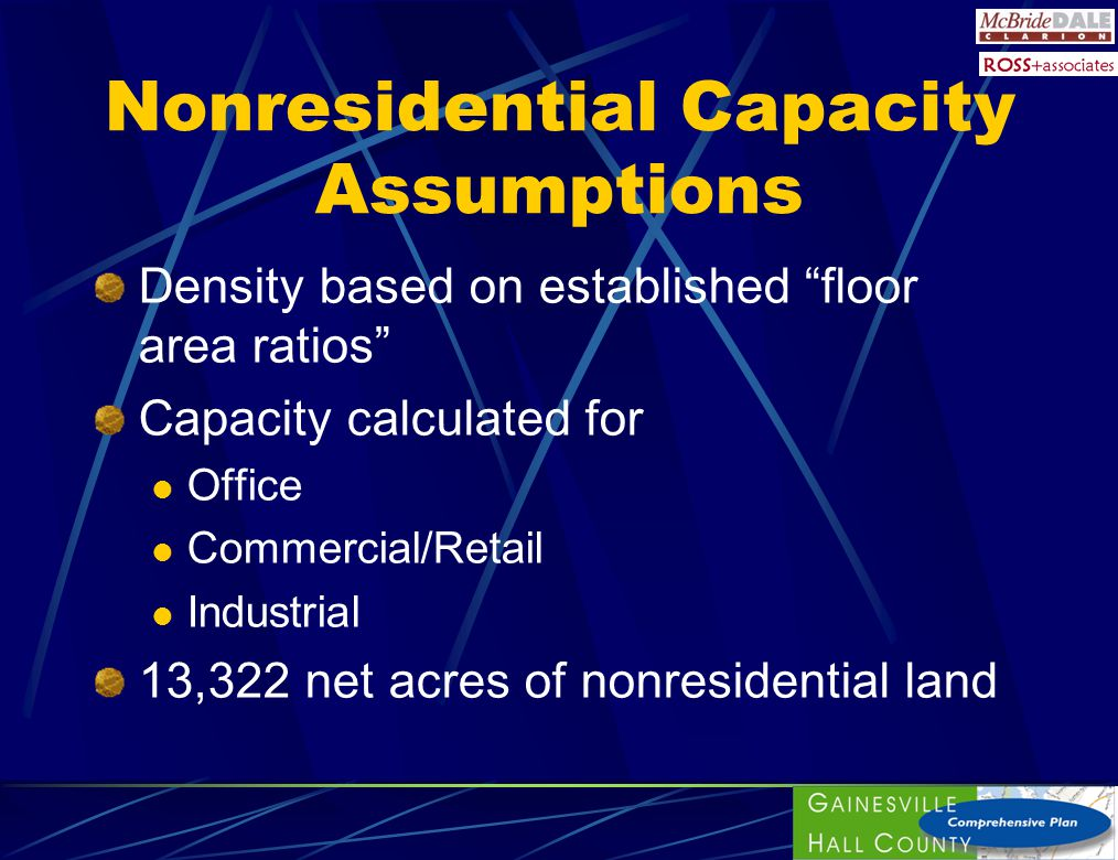 Nonresidential Capacity Assumptions Density based on established floor area ratios Capacity calculated for Office Commercial/Retail Industrial 13,322 net acres of nonresidential land