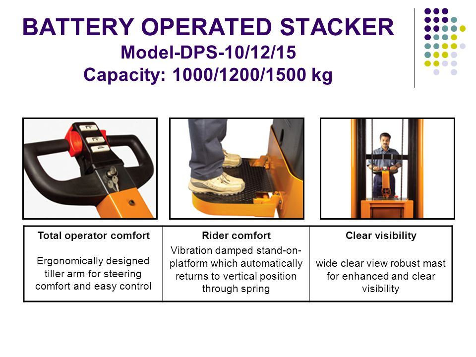 BATTERY OPERATED STACKER Model-DPS-10/12/15 Capacity: 1000/1200/1500 kg Total operator comfort Ergonomically designed tiller arm for steering comfort and easy control Rider comfort Vibration damped stand-on- platform which automatically returns to vertical position through spring Clear visibility wide clear view robust mast for enhanced and clear visibility