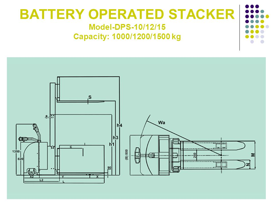 BATTERY OPERATED STACKER Model-DPS-10/12/15 Capacity: 1000/1200/1500 kg