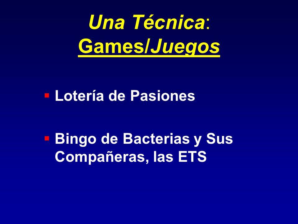 Una Técnica: Games/Juegos Lotería de Pasiones Bingo de Bacterias y Sus Compañeras, las ETS