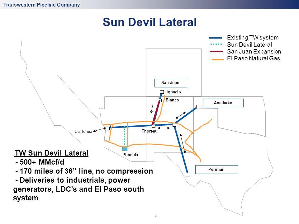 Transwestern Pipeline Company 9 Sun Devil Lateral Ignacio Blanco Permian Anadarko Thoreau San Juan California Phoenix Existing TW system Sun Devil Lat