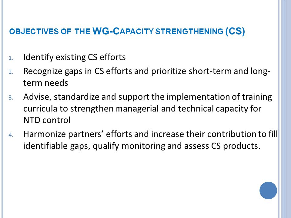 OBJECTIVES OF THE WG-C APACITY STRENGTHENING (CS) 1.