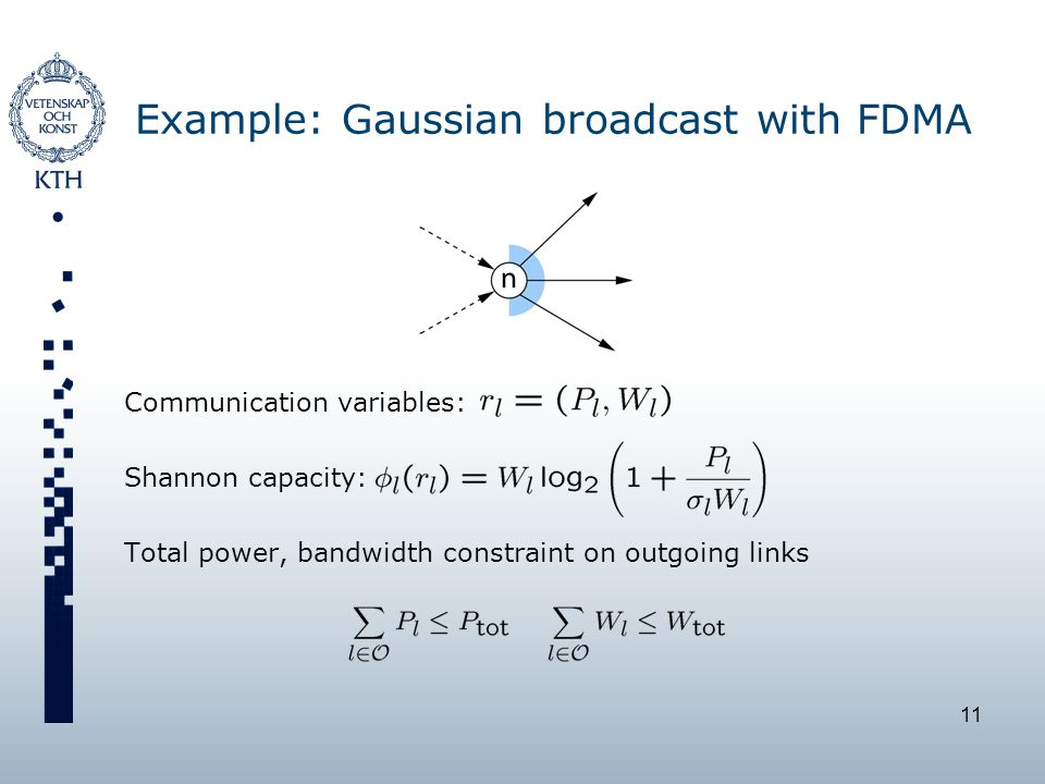11 Example: Gaussian broadcast with FDMA Communication variables: Shannon capacity: Total power, bandwidth constraint on outgoing links