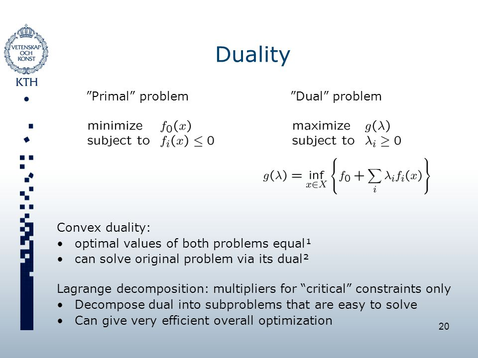 20 Duality Primal problem Dual problem Convex duality: optimal values of both problems equal¹ can solve original problem via its dual² Lagrange decomposition: multipliers for critical constraints only Decompose dual into subproblems that are easy to solve Can give very efficient overall optimization