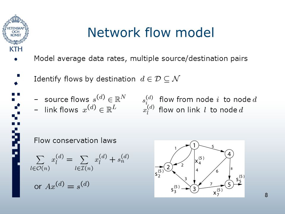 8 Network flow model Model average data rates, multiple source/destination pairs Identify flows by destination –source flows flow from node to node –link flows flow on link to node Flow conservation laws