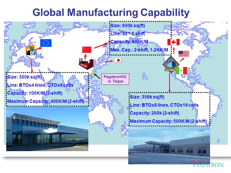 Global Manufacturing Capability PegatronHQ in Taipei Size: 300k sq(ft)Line: BTOx4 lines, CTOx8 cellsCapacity: 100K/M (2-shift)Maximum Capacity: 400K/M (2-shift) Size: 600k sq(ft)Line: 32 * 1 shiftCapacity: 600K/MMax.