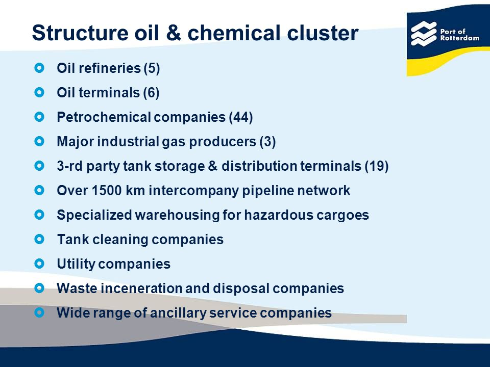 Structure oil & chemical cluster Oil refineries (5) Oil terminals (6) Petrochemical companies (44) Major industrial gas producers (3) 3-rd party tank storage & distribution terminals (19) Over 1500 km intercompany pipeline network Specialized warehousing for hazardous cargoes Tank cleaning companies Utility companies Waste inceneration and disposal companies Wide range of ancillary service companies