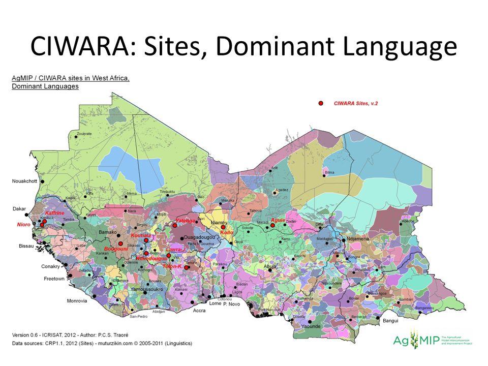 CIWARA: Sites, Dominant Language
