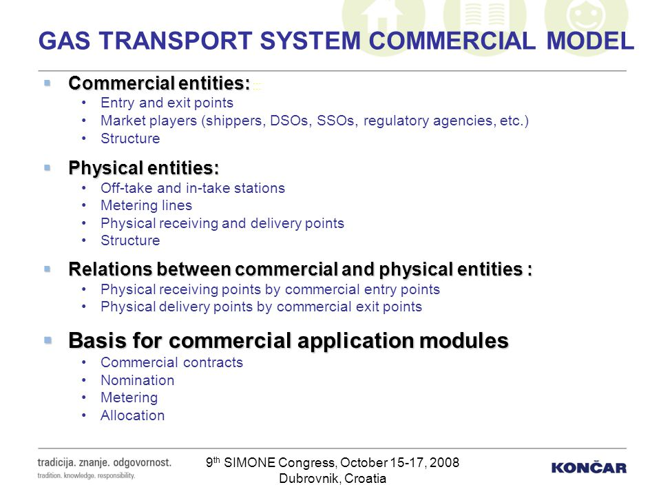 9 th SIMONE Congress, October 15-17, 2008 Dubrovnik, Croatia GAS TRANSPORT SYSTEM COMMERCIAL MODEL Commercial entities: Commercial entities: ::: Entry