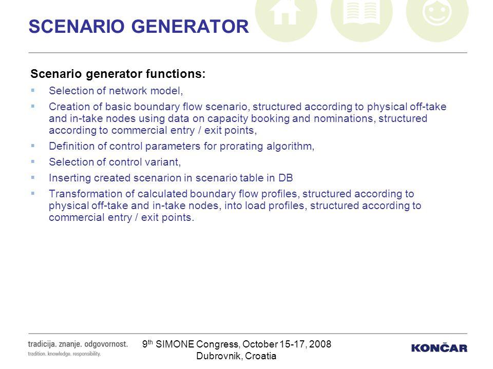 9 th SIMONE Congress, October 15-17, 2008 Dubrovnik, Croatia SCENARIO GENERATOR Scenario generator functions: Selection of network model, Creation of