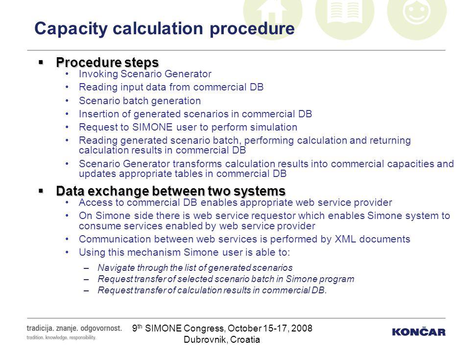 9 th SIMONE Congress, October 15-17, 2008 Dubrovnik, Croatia Capacity calculation procedure Procedure steps Procedure steps Invoking Scenario Generato