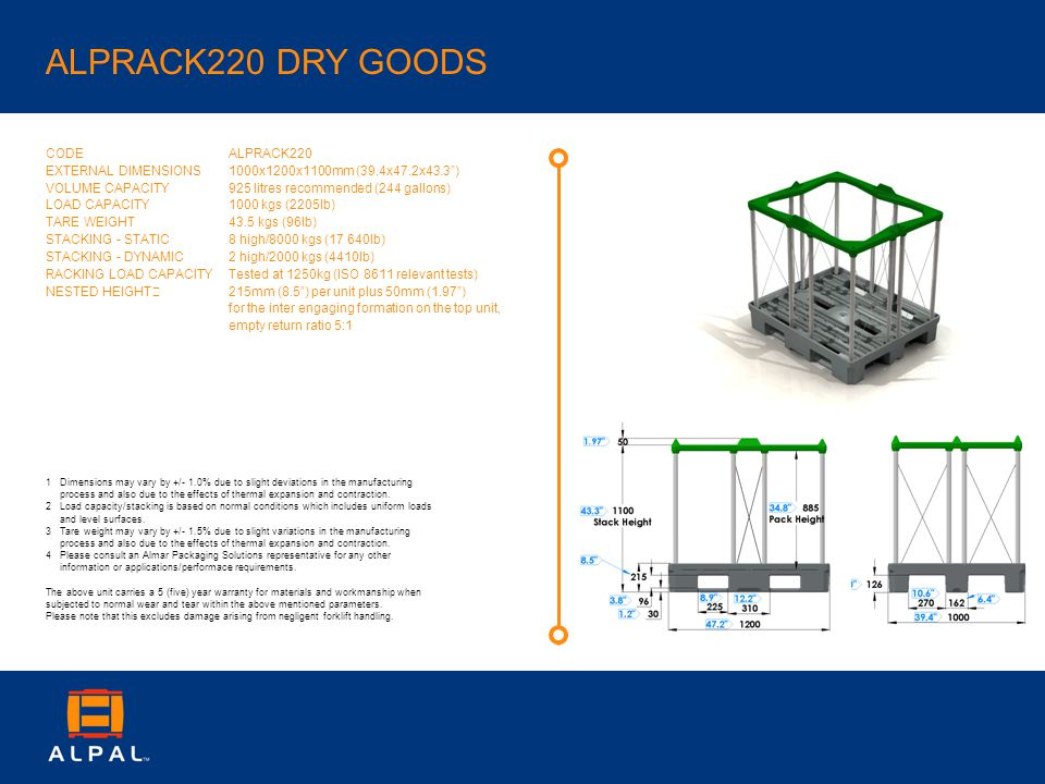 ALPRACK220 DRY GOODS CODE EXTERNAL DIMENSIONS VOLUME CAPACITY LOAD CAPACITY TARE WEIGHT STACKING - STATIC STACKING - DYNAMIC RACKING LOAD CAPACITY NESTED HEIGHT ALPRACK220 1000x1200x1100mm (39.4x47.2x43.3) 925 litres recommended (244 gallons) 1000 kgs (2205lb) 43.5 kgs (96lb) 8 high/8000 kgs (17 640lb) 2 high/2000 kgs (4410lb) Tested at 1250kg (ISO 8611 relevant tests) 215mm (8.5) per unit plus 50mm (1.97) for the inter engaging formation on the top unit, empty return ratio 5:1 1Dimensions may vary by +/- 1.0% due to slight deviations in the manufacturing process and also due to the effects of thermal expansion and contraction.
