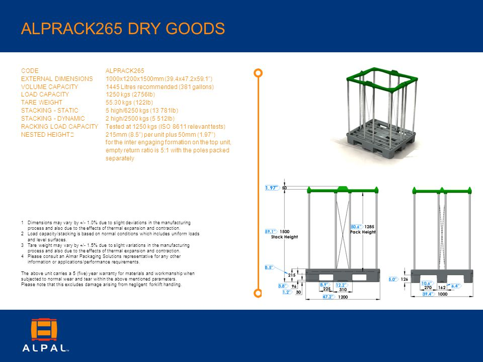 ALPRACK265 DRY GOODS CODE EXTERNAL DIMENSIONS VOLUME CAPACITY LOAD CAPACITY TARE WEIGHT STACKING - STATIC STACKING - DYNAMIC RACKING LOAD CAPACITY NESTED HEIGHT ALPRACK265 1000x1200x1500mm (39.4x47.2x59.1) 1445 Litres recommended (381 gallons) 1250 kgs (2756lb) 55.30 kgs (122lb) 5 high/6250 kgs (13 781lb) 2 high/2500 kgs (5 512lb) Tested at 1250 kgs (ISO 8611 relevant tests) 215mm (8.5) per unit plus 50mm (1.97) for the inter engaging formation on the top unit, empty return ratio is 5:1 with the poles packed separately 1Dimensions may vary by +/- 1.0% due to slight deviations in the manufacturing process and also due to the effects of thermal expansion and contraction.