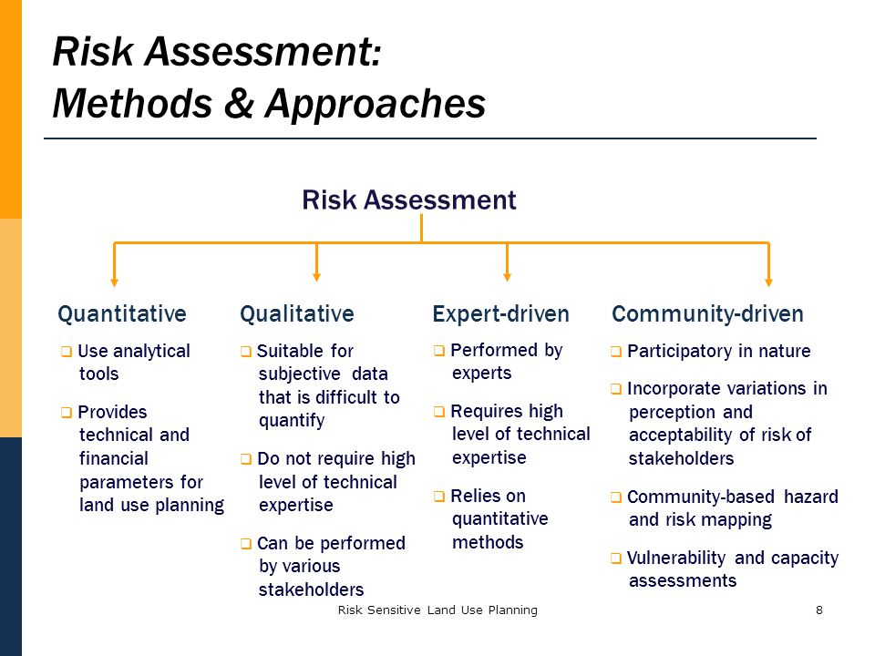 8 Risk Assessment QuantitativeQualitativeExpert-drivenCommunity-driven Participatory in nature Incorporate variations in perception and acceptability of risk of stakeholders Community-based hazard and risk mapping Vulnerability and capacity assessments Performed by experts Requires high level of technical expertise Relies on quantitative methods Risk Assessment: Methods & Approaches Use analytical tools Provides technical and financial parameters for land use planning Suitable for subjective data that is difficult to quantify Do not require high level of technical expertise Can be performed by various stakeholders Risk Sensitive Land Use Planning