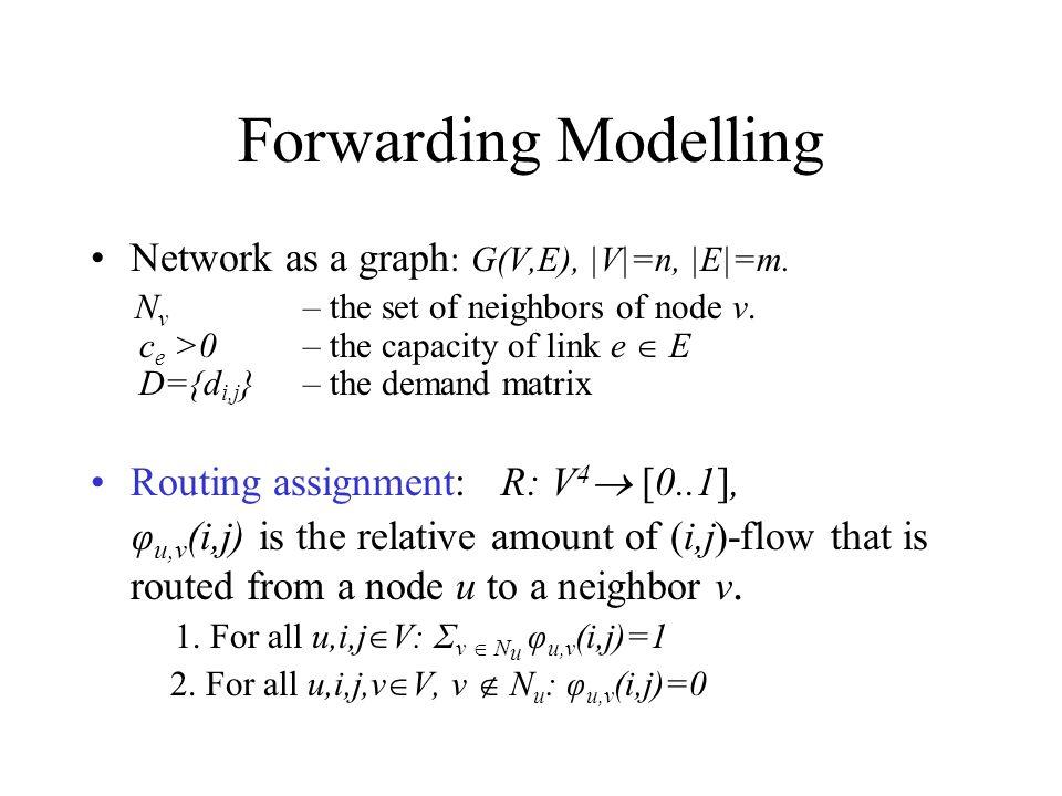 Forwarding Modelling Network as a graph : G(V,E), |V|=n, |E|=m.
