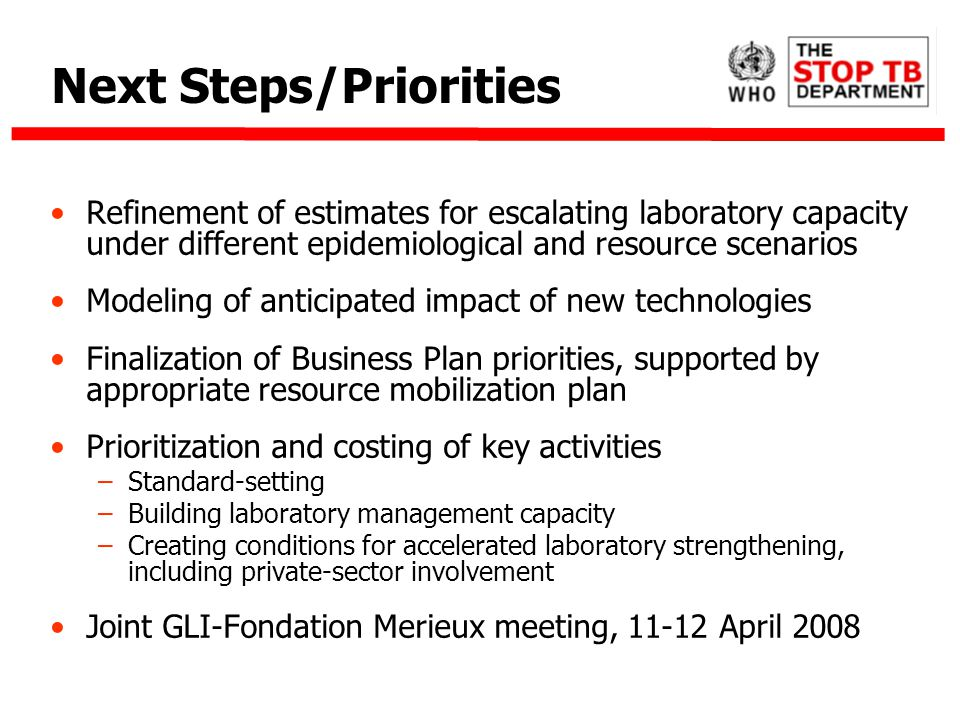 Next Steps/Priorities Refinement of estimates for escalating laboratory capacity under different epidemiological and resource scenarios Modeling of anticipated impact of new technologies Finalization of Business Plan priorities, supported by appropriate resource mobilization plan Prioritization and costing of key activities –Standard-setting –Building laboratory management capacity –Creating conditions for accelerated laboratory strengthening, including private-sector involvement Joint GLI-Fondation Merieux meeting, 11-12 April 2008