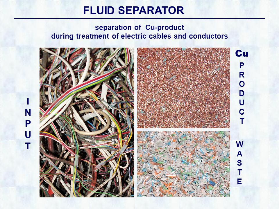 separation of Cu-product during treatment of electric cables and conductors INPUTINPUT FLUID SEPARATOR PRODUCTPRODUCT WASTEWASTE Cu