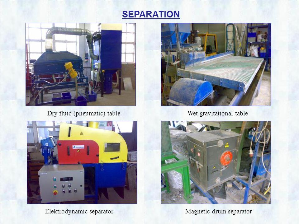 SEPARATION Dry fluid (pneumatic) table Elektrodynamic separator Wet gravitational table Magnetic drum separator