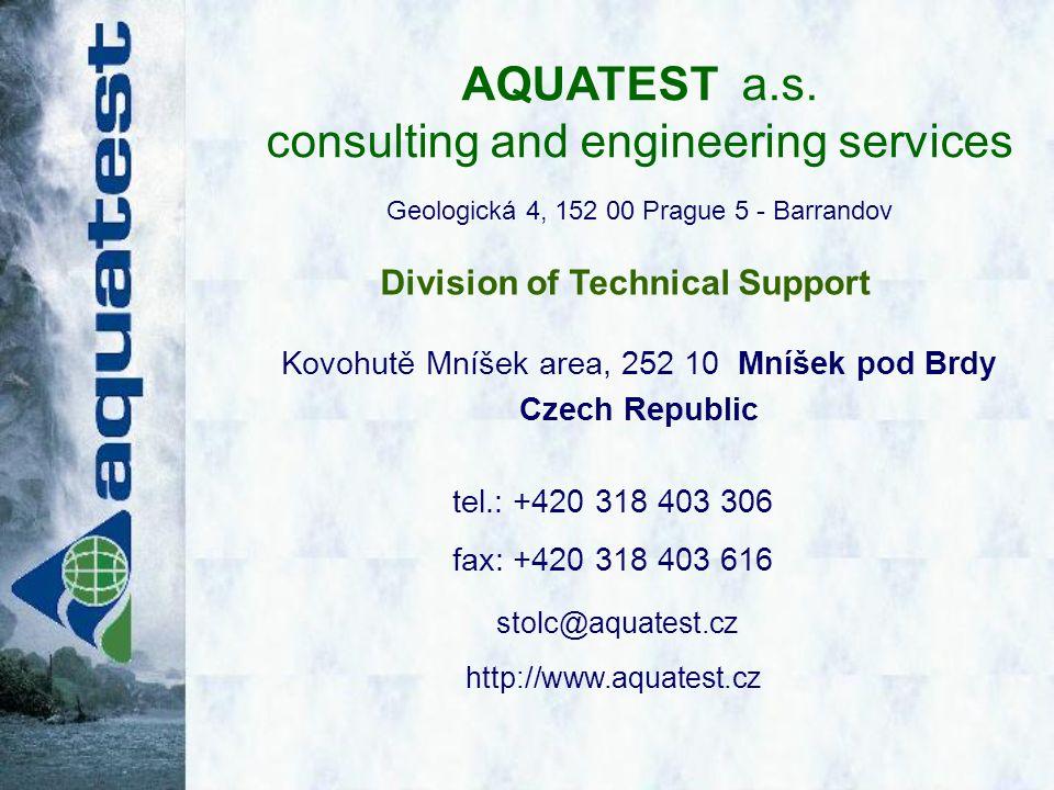 tel.: +420 318 403 306 fax: +420 318 403 616 stolc@aquatest.cz http://www.aquatest.cz AQUATEST a.s.