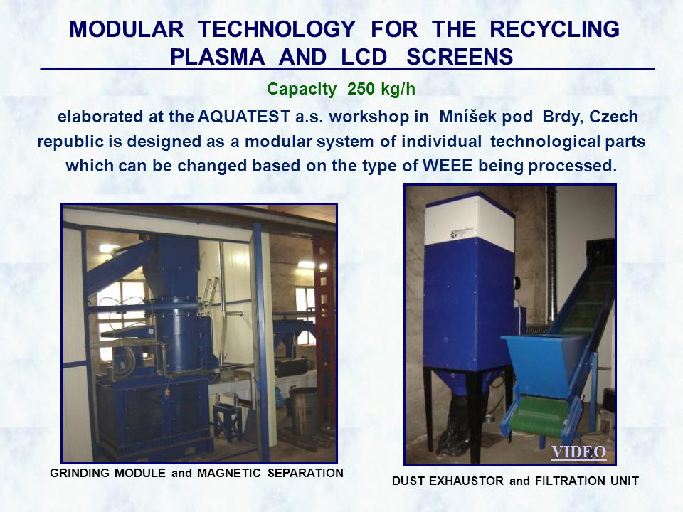 MODULAR TECHNOLOGY FOR THE RECYCLING PLASMA AND LCD SCREENS elaborated at the AQUATEST a.s.