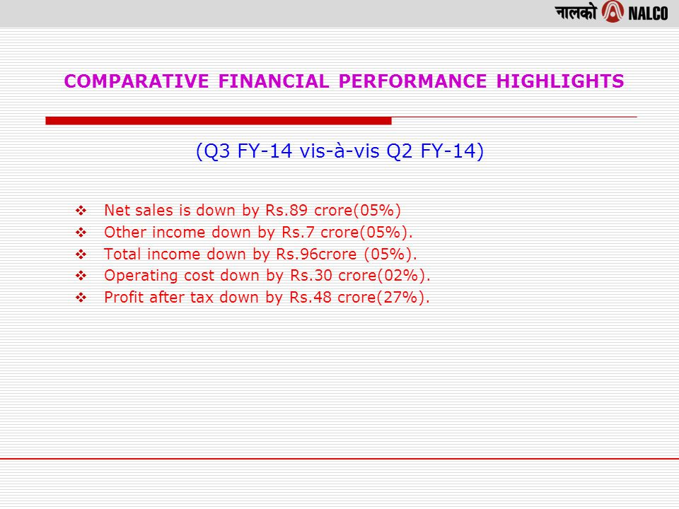 COMPARATIVE FINANCIAL PERFORMANCE HIGHLIGHTS (Q3 FY-14 vis-à-vis Q2 FY-14) Net sales is down by Rs.89 crore(05%) Other income down by Rs.7 crore(05%).