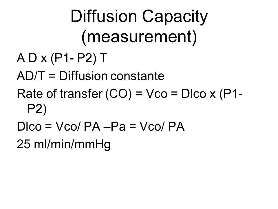 Diffusion Capacity (measurement) A D x (P1- P2) T AD/T = Diffusion constante Rate of transfer (CO) = Vco = Dlco x (P1- P2) Dlco = Vco/ PA –Pa = Vco/ P