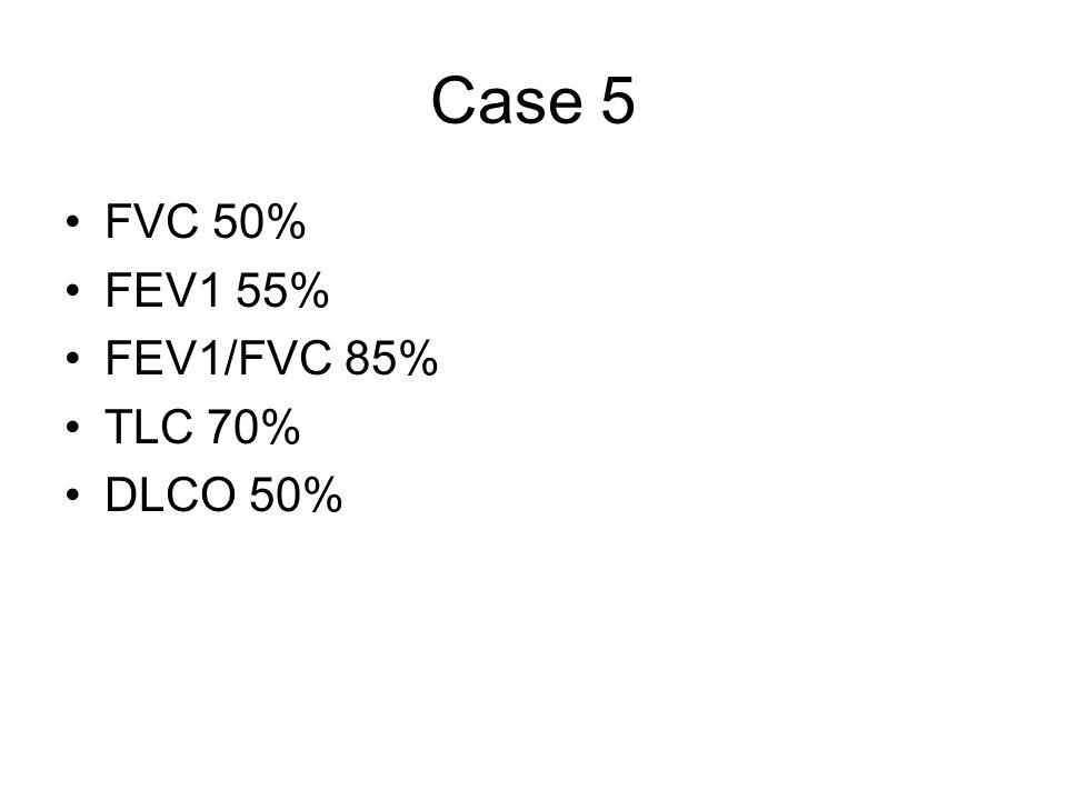 Case 5 FVC 50% FEV1 55% FEV1/FVC 85% TLC 70% DLCO 50%