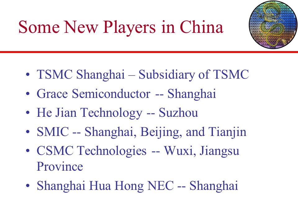 Some New Players in China TSMC Shanghai – Subsidiary of TSMC Grace Semiconductor -- Shanghai He Jian Technology -- Suzhou SMIC -- Shanghai, Beijing, and Tianjin CSMC Technologies -- Wuxi, Jiangsu Province Shanghai Hua Hong NEC -- Shanghai