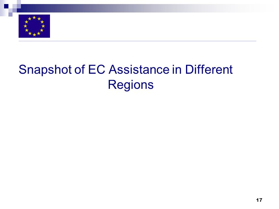 17 Snapshot of EC Assistance in Different Regions