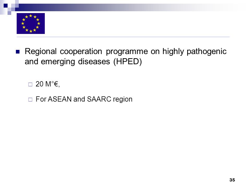 35 Regional cooperation programme on highly pathogenic and emerging diseases (HPED) 20 M°, For ASEAN and SAARC region