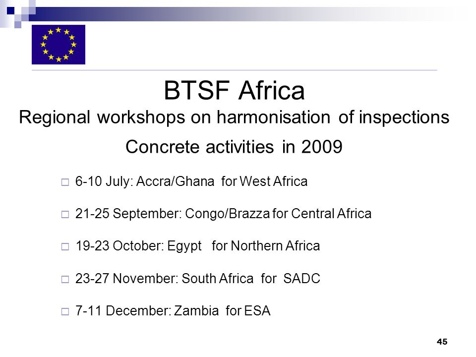 45 BTSF Africa Regional workshops on harmonisation of inspections Concrete activities in July: Accra/Ghana for West Africa September: Congo/Brazza for Central Africa October: Egypt for Northern Africa November: South Africa for SADC 7-11 December: Zambia for ESA