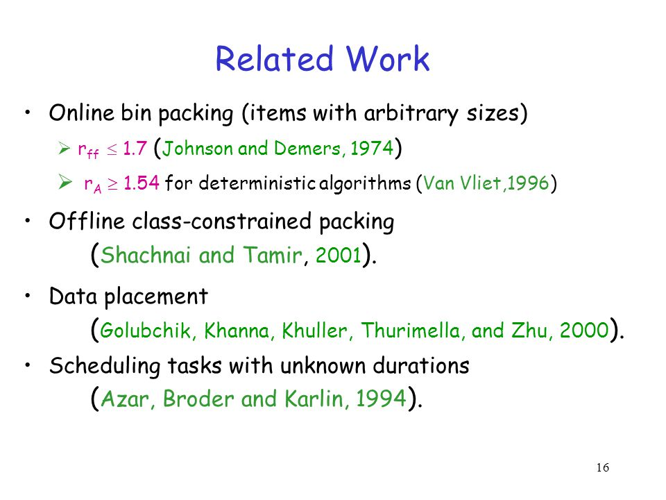 16 Related Work Online bin packing (items with arbitrary sizes) r ff 1.7 ( Johnson and Demers, 1974 ) r A 1.54 for deterministic algorithms (Van Vliet,1996) Offline class-constrained packing ( Shachnai and Tamir, 2001 ).