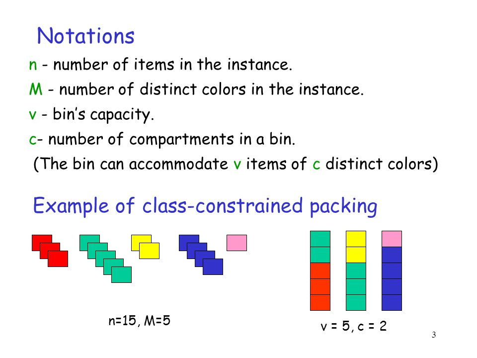 3 Notations n - number of items in the instance.M - number of distinct colors in the instance.